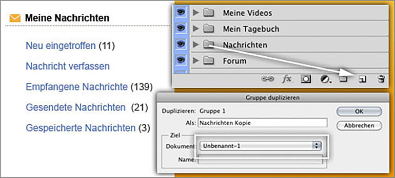 Ebenendialog in Photoshop