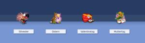 Auszug aus der PSD Tutorials.de-Iconserie. Von Links nach Rechts: Silvester, Ostern, Valentinstag, Muttertag.