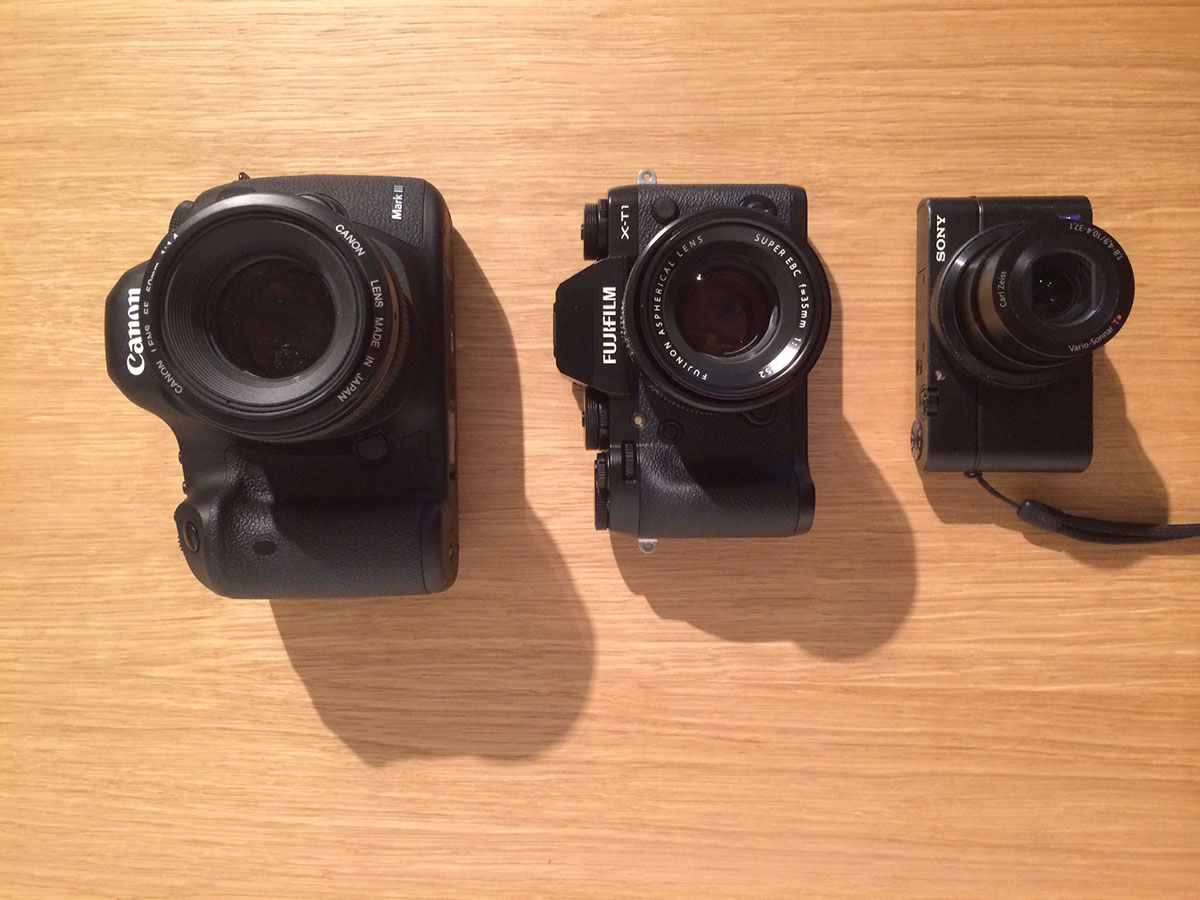 Grössenvergleich der Fuji X-T1 mit der EOS 5D MKIII und der Sony RX100. Ansicht oben.