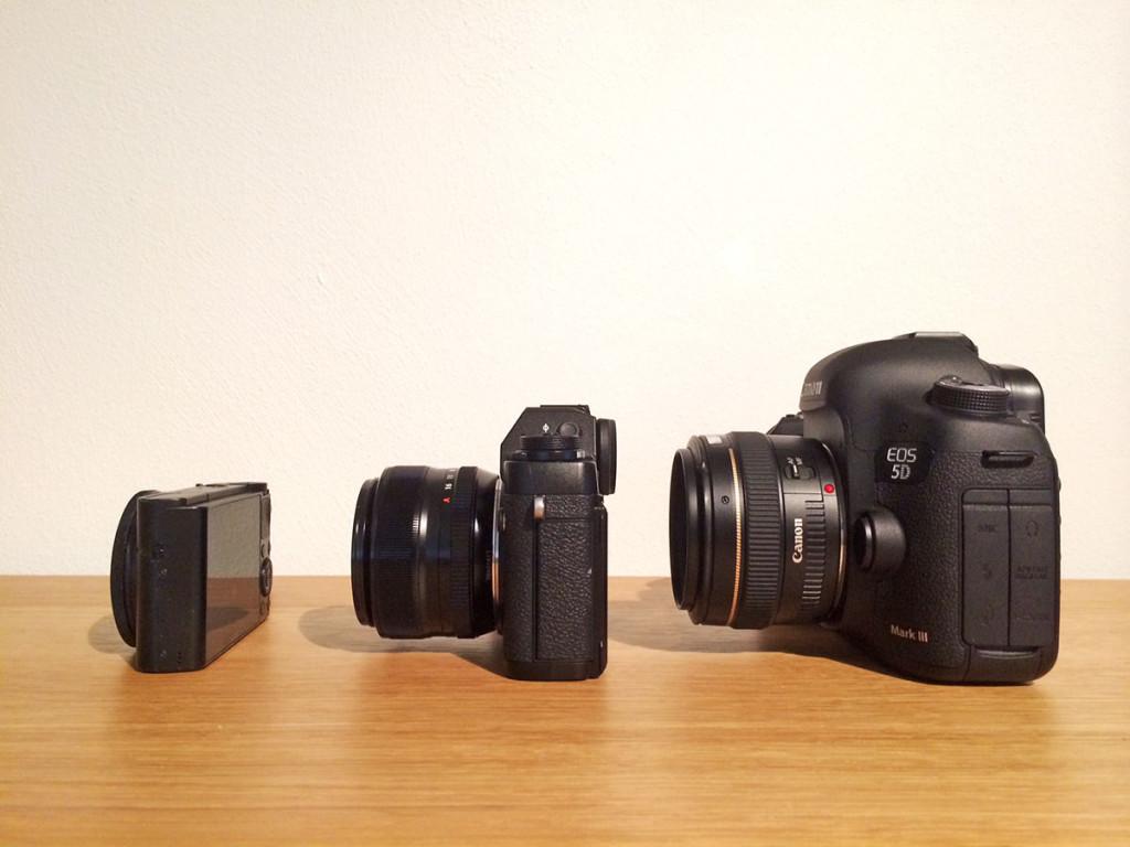 Grössenvergleich der Fuji X-T1 mit der EOS 5D MKIII und der Sony RX100. Ansicht seitlich