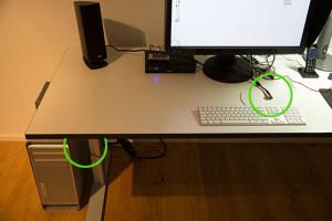 Arbeitsplatz zeigt zu kurzes Kabel
