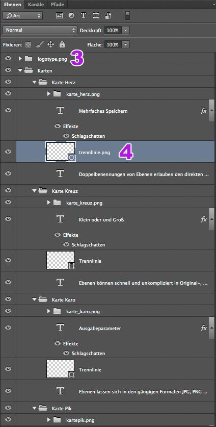 Screenshot der Ebenenpalette mit markierten, zu benennenden Ebenen