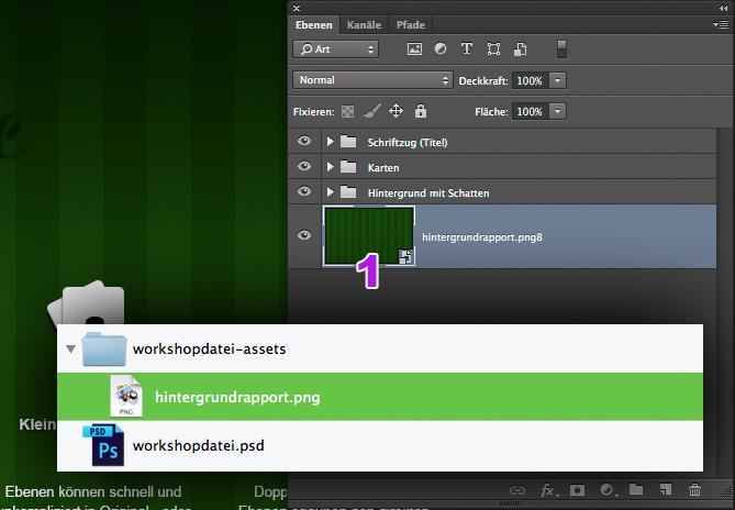 Ebenenpalette in Photoshop und Finderfenster mit exportierter Datei.
