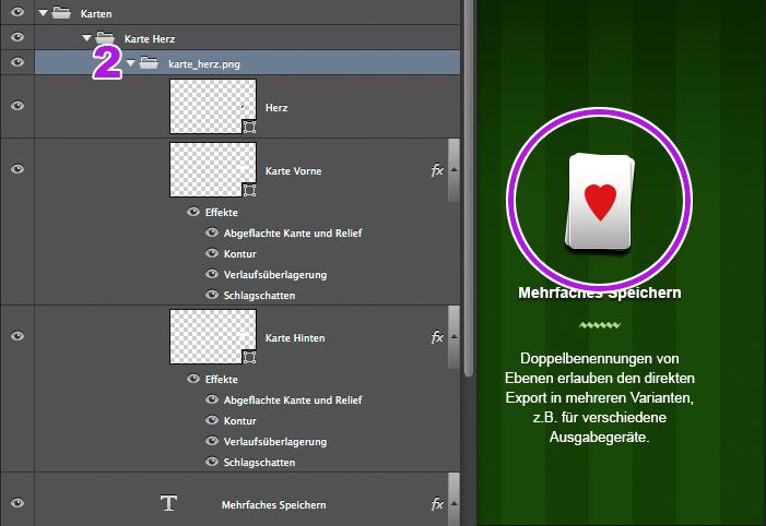 Spielkarte im Photoshop-Dokument und Ebenenstruktur in der Ebenenpalette.