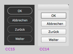 Screenshot aktiver und inaktiver Buttons in Photoshop CC 2014 und 2015