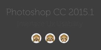 Teaserbild zum Artikel Photoshop CC2015 Interface Desaster. Text mit schwachem Kontrast auf grauem Hintergrund und die drei Affen die nichts sehen, hören und sagen.