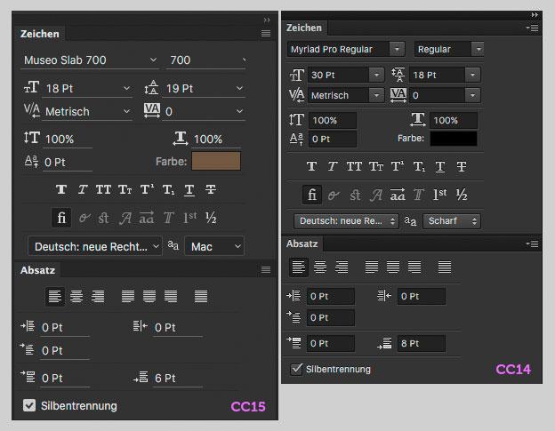Screenshot der Schrift- und der Absatzpalette in Photoshop