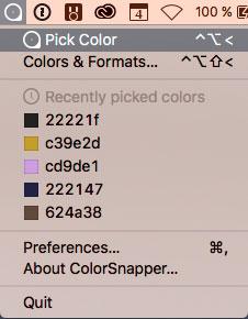 Screenshot Aufgeklapptes ColorSnapper-Menü