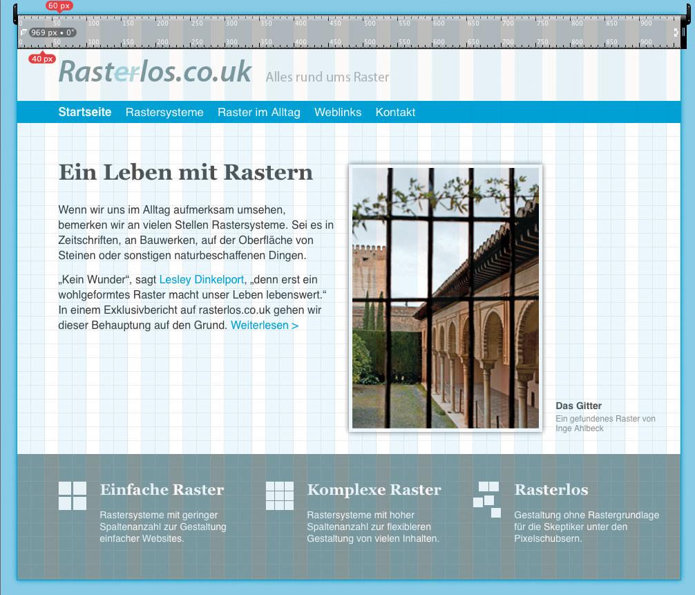 Abbildung einer ihr Raster zerlegten Website