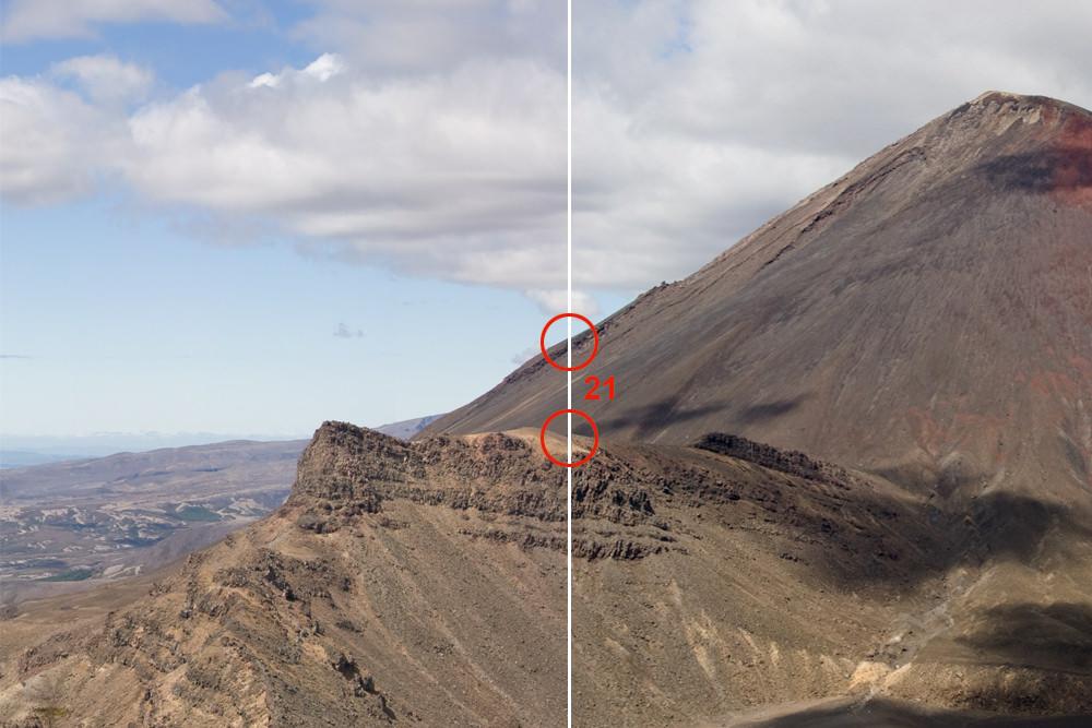 Bergkette mit Nahtstelle in der Mitte.