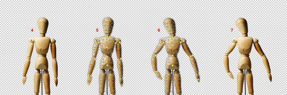 Abbildung verschiedener Formgitter-Elemente am Bild einer Gliederpuppe.