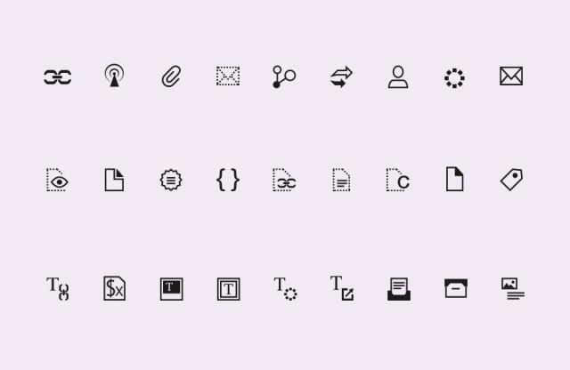 Stilisierte Iconserie für eine Softwareapplikation