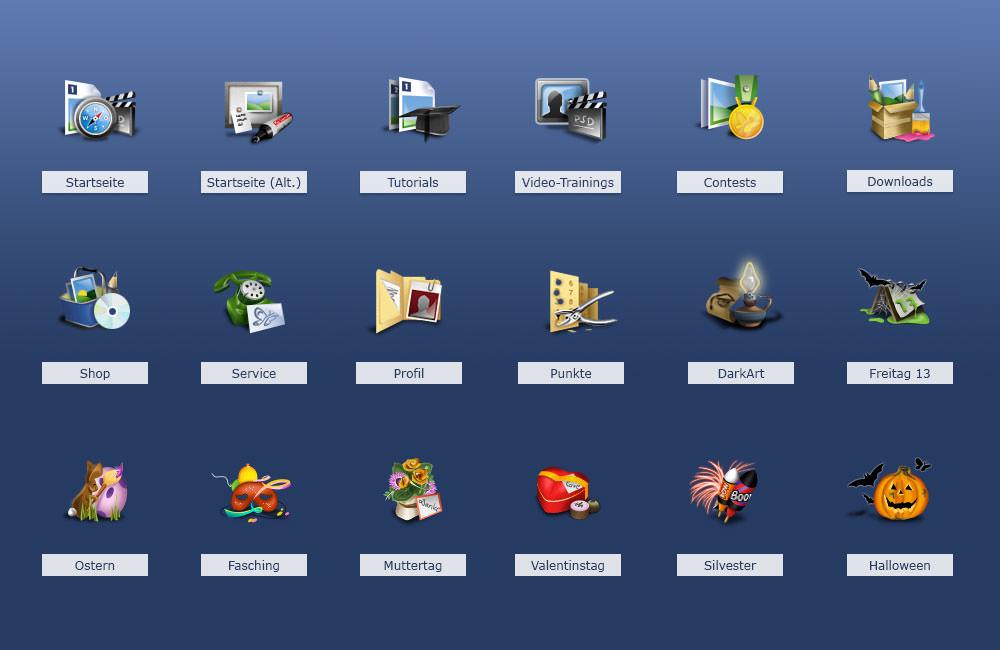Bunte Icons für die online-Community PSD-Tutorials.de