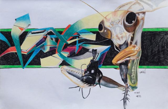 Gottesanbeterin mit Graffiti-Schriftzug.