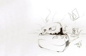 Verbrennendes Toast im Toaster (Comicstil)
