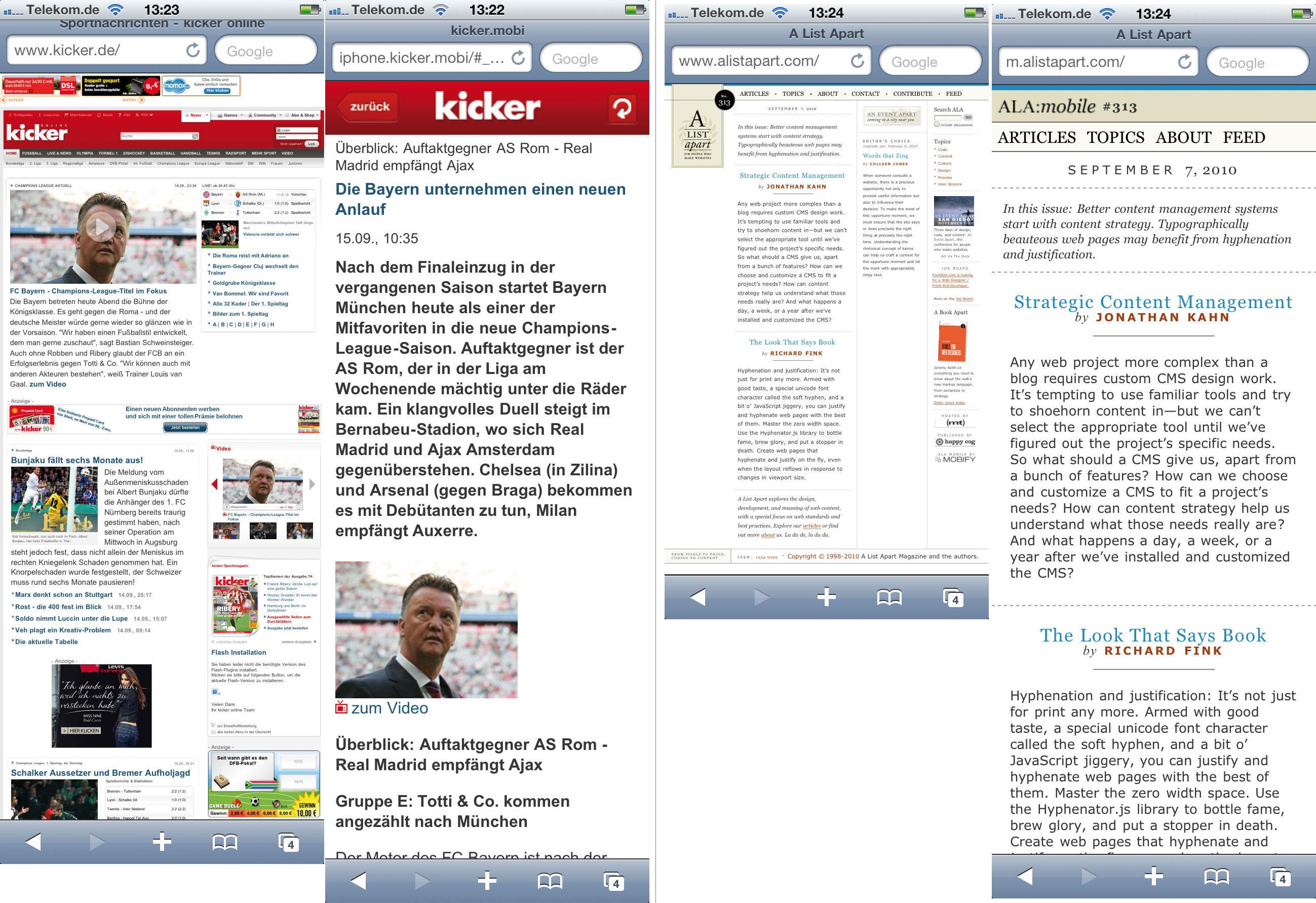 Gegenüberstellung der mobilen und Desktop-Website von kicker und A List Apart