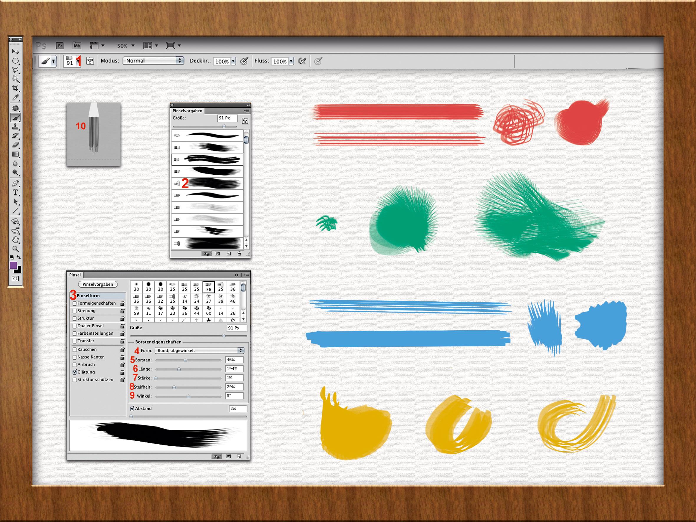 Verschiedene Duktus des Borstenpinsel und Screenshot der Pinselmenüs