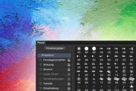 Farbkleckse und Pinsel-Palette aus Photoshop