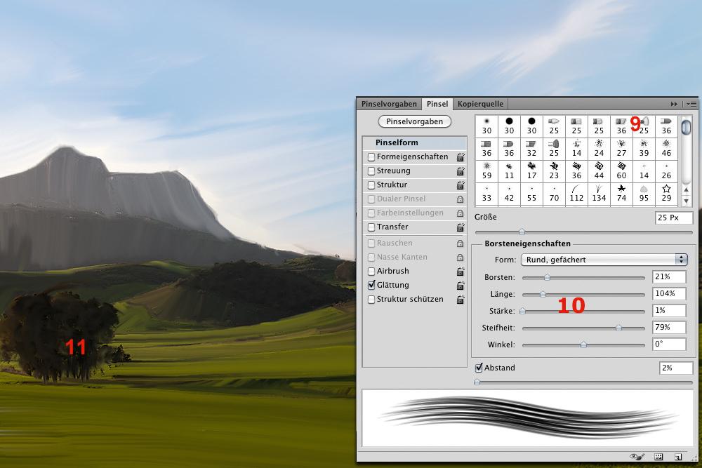 Screenshot mit exemplarischen Einstellungen der Pinselspitze