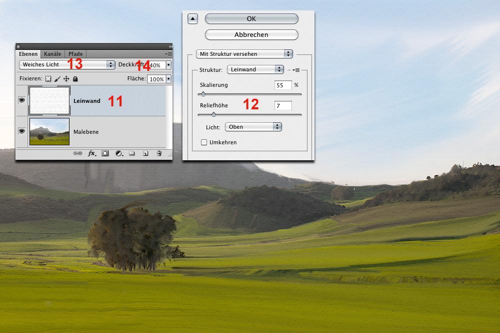 Gemälde mit angezeigtem Filter-Dialogfeld.