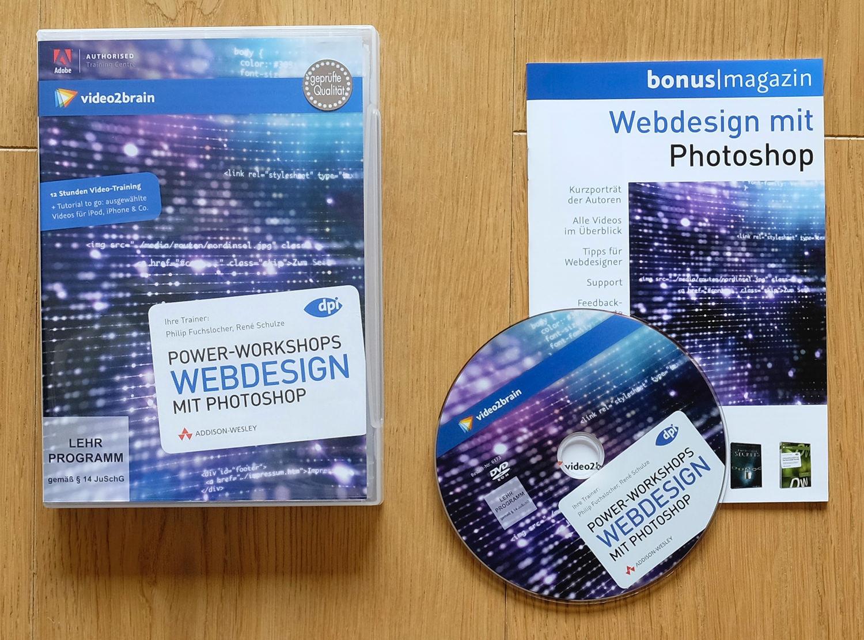 DVD-Hülle, DVD und Begleitheft der Lern-DVD Webdesign mit Photoshop