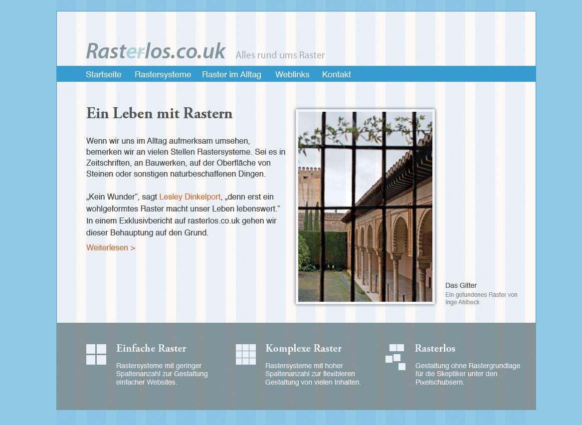 Website mit geordneten Inhaltselementen