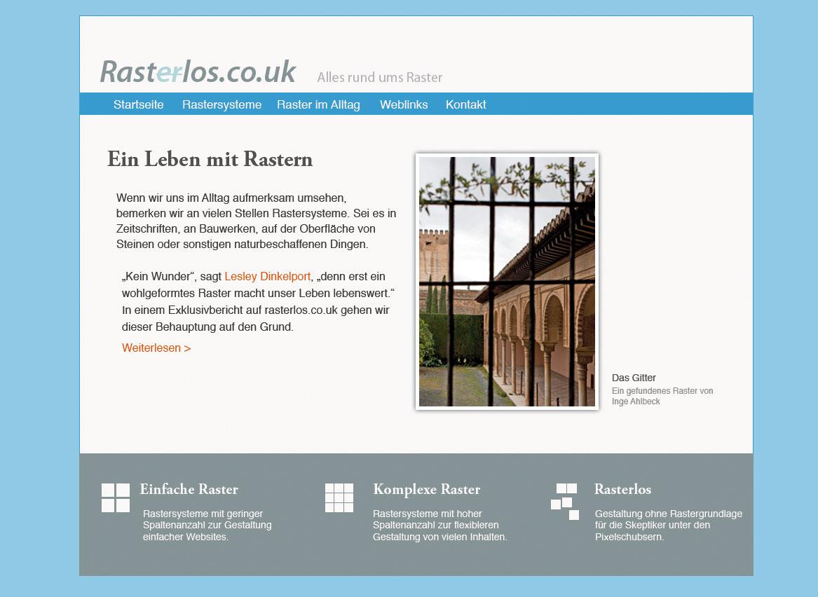 Website mit springenden Inhaltselementen