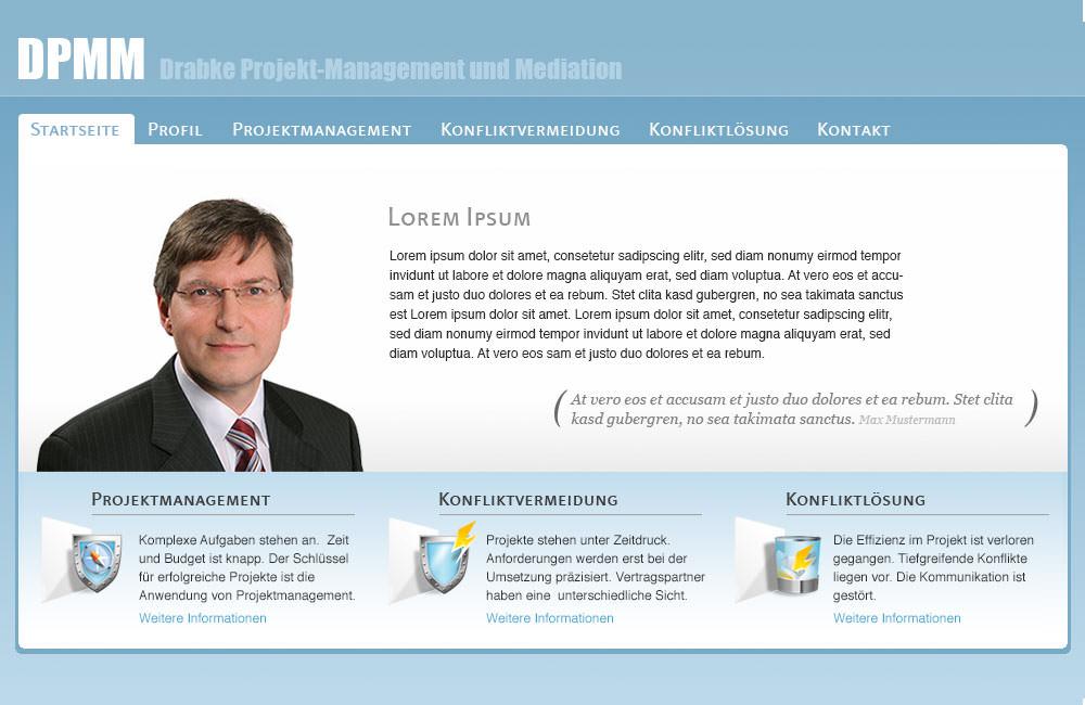 Homepage Drabke Projektmanagement.