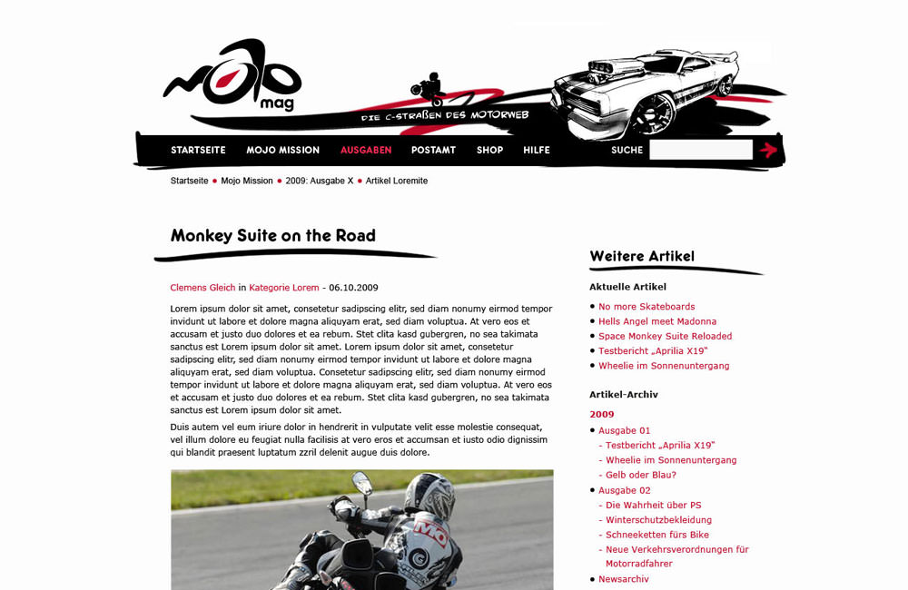 Homepage der Website mojomag.de