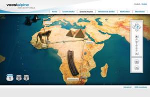 Programmoberfläche zeigt karte von Afrika mit einigen Sehenswürdigkeiten