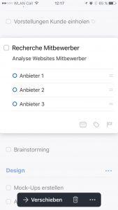 Screenshot Things 3 iPhone: Aufgabenansicht mit Checkliste.
