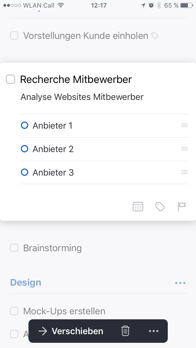 Screenshot Things 3 iPhone: Aufgabenansicht mit Checkliste.