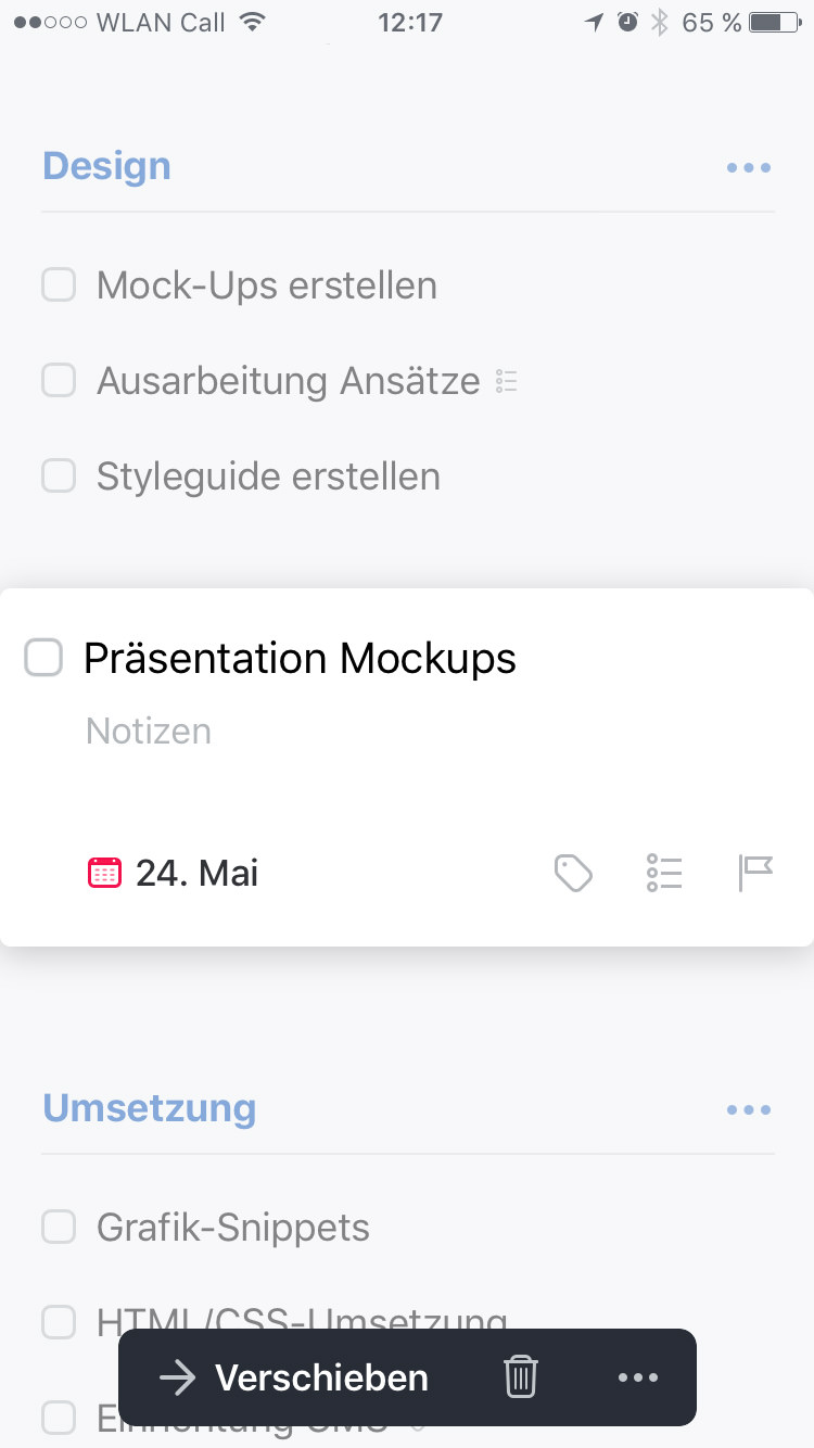 Screenshot Things 3 iPhone: Aufgabenansicht mit Datum.