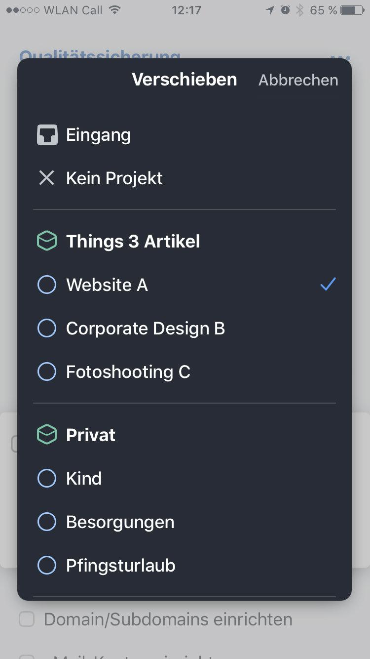 Screenshot Things 3 iPhone: Verschieben