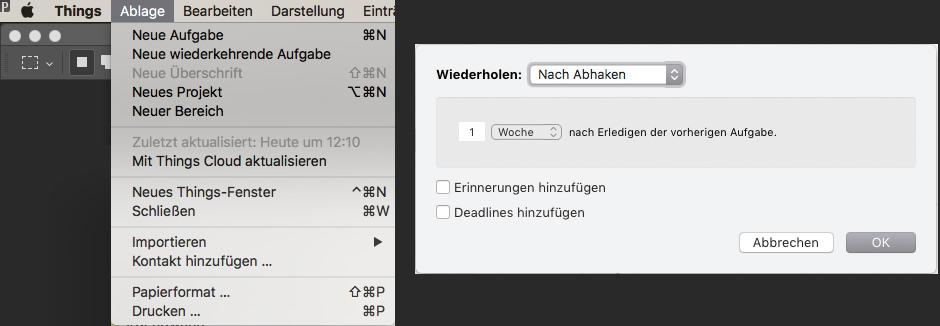 Screenshot Wiederkehrende Aufgabe Things 3
