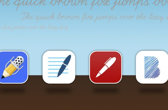 Icons der iPad-Apps Notability, GoodNotes, Noteshelf und Bamboo Paper
