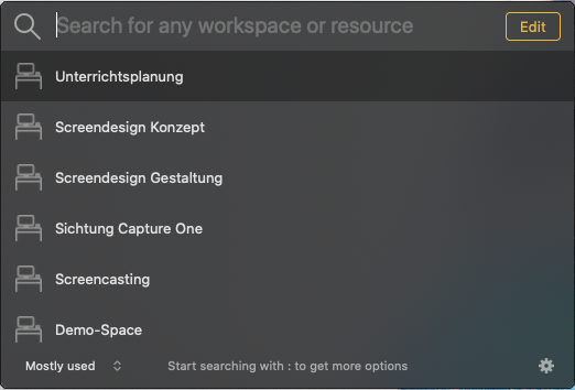 Geöffnete Suchmaske von Workspaces.