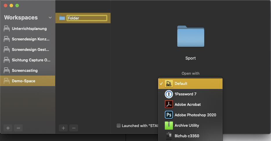 Anschnitt der Anwendungsliste, mit der eine Datei/Ordner geöffnet werden kann.