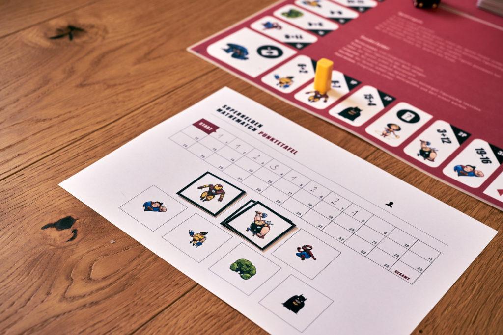 Ansicht der SMM-Spielertafel mit einigen notierten Punkten und drei Sammelfiguren.