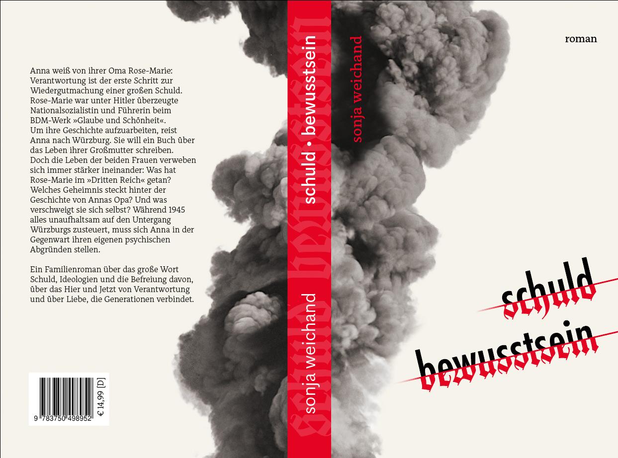 Das fertig ausgearbeitete Buchcover mit Vorder- und Rückseite.